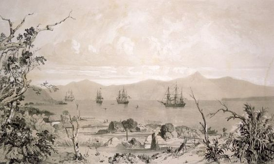 800px-Akaroa_Harbour_Ships_And_Whare